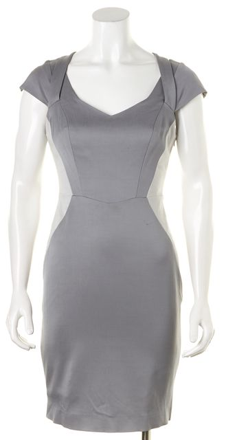 MILLY Gray Cap Sleeve Above Knee V-Neck Sheath Dress