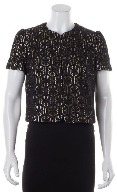 MILLY Black Beige Lace Overlay Basic Cropped Jacket