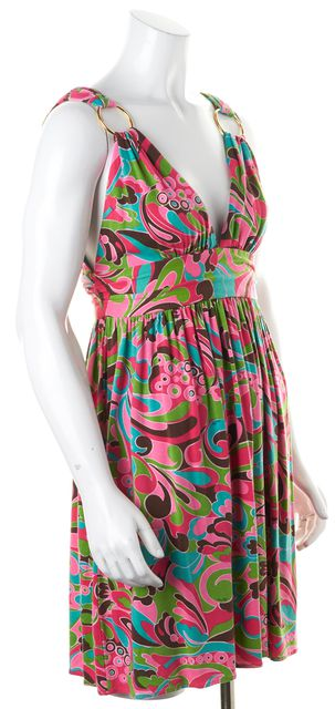 MILLY Pink Green Blue Floral Halter Empire Waist Dress