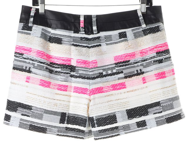 MILLY White Pink Black Tweed Leather Trim Casual Shorts