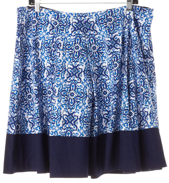 MILLY Blue White Floral Above Knee A-Line Full Skirt