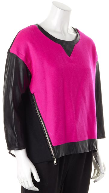 MILLY Neon Pink Black Wool Leather Trim Crewneck Sweater