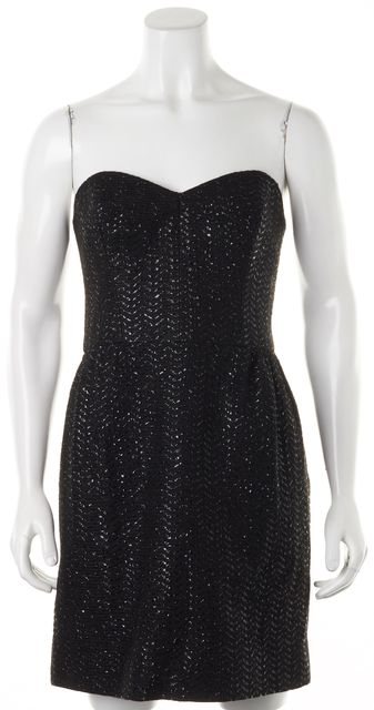 MILLY Black Glossy Ribbon Woven Strapless Fit Flare Dress