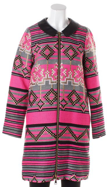 MILLY Pink Multi-Color Geometric Leather Collar Coat