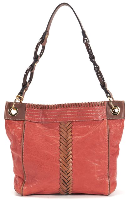 MILLY Rust Brown Textured Leather Braided Gold-Told Hardware Shoulder Bag