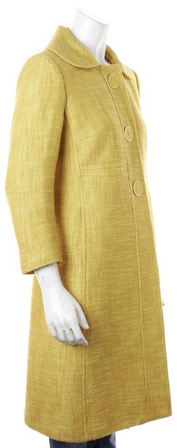 MILLY Mustard Yellow Cotton Linen Long Coat