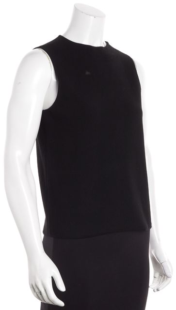 MILLY Black Ribbed Knit Tank Top