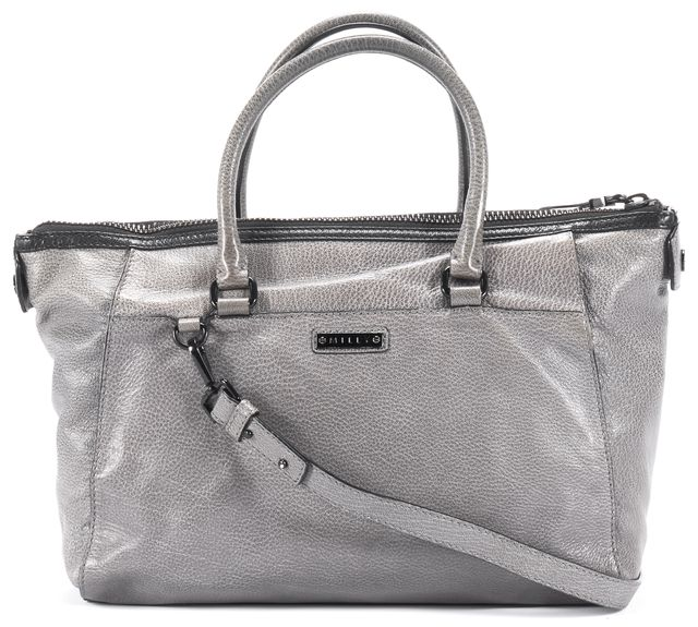 MILLY Gray Snakeskin Leather Satchel Tote