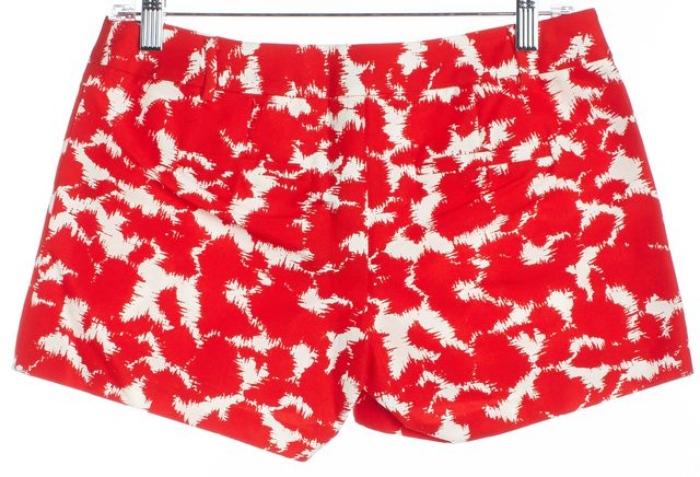 MILLY Red White Abstract Mini, Short Shorts