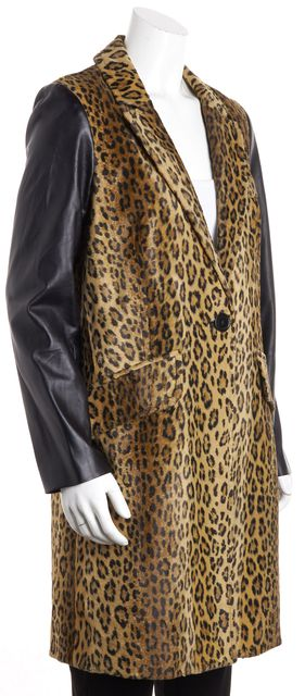 MILLY Cheetah Print Black Leather Sleeve One-Button Peacoat