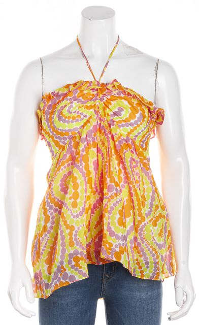 MILLY White Yellow Orange Pink Abstract Halter Top