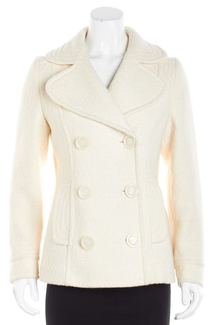 MILLY Ivory Textured Wool Peacoat