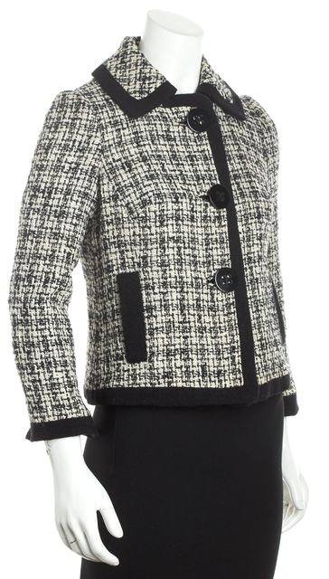 MILLY Black White Tweed Basic Jacket