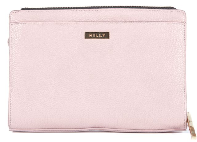MILLY Lilac Pink Ruffle Leather Clutch