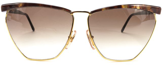 MISSONI Gold Metal Frame Brown Pearl Acetate Oval Gradient Lens Sunglasses