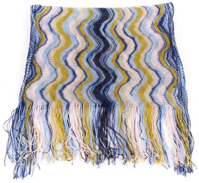 MISSONI Blue Pink Knit Striped Fringe Scarf