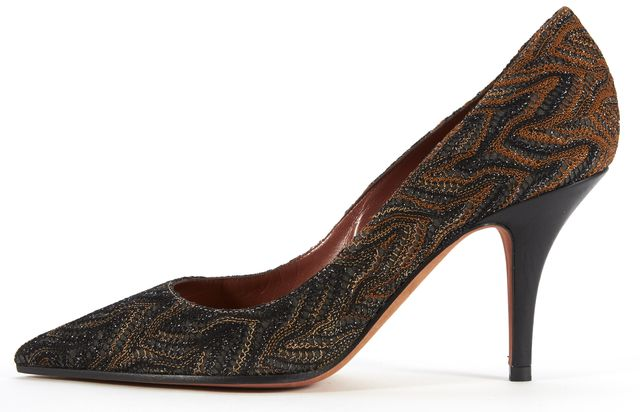 MISSONI Black Orange Embroidered Pointed Pump Heels Size 37.5