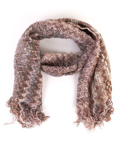 MISSONI Brown Pink Teal Knit Long Fringe Scarf