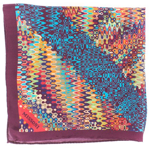 MISSONI Multi Color Print Silk Square Scarf