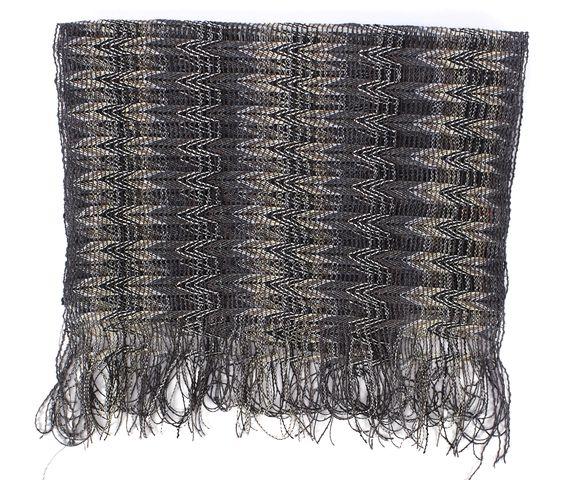 MISSONI Gray White Multi Geometric Fringe Knit Scarf