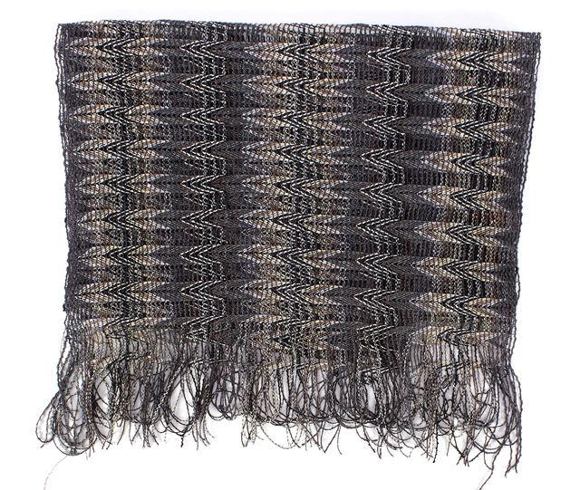 MISSONI Gray White Multi Geometric Fringe Knit Scarf