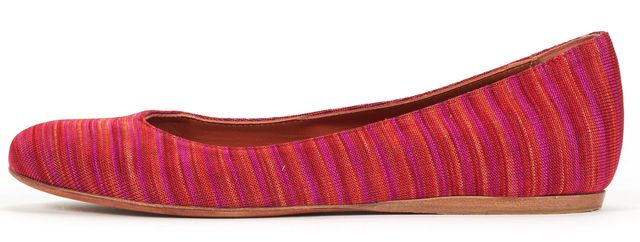 MISSONI Pink Red Woven Fabric Classic Ballet Flats