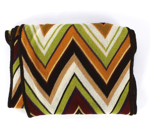MISSONI Brown Multi Color Zig Zag Knit Scarf