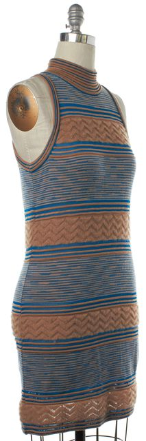 MISSONI Beige Blue Striped Wool Knit Stretch Mock Neck Dress