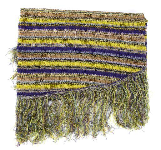 MISSONI Yellow Purple Multi Striped Fringe Knit Asymmetrical Scarf