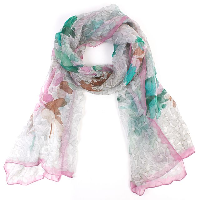 MISSONI Multi-Color Abstract Print Silk Scarf