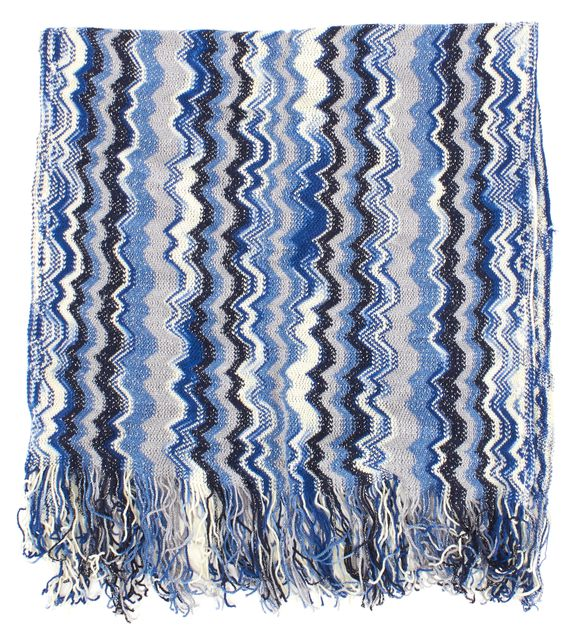 MISSONI Blue White Chevron Wool Knit Fringe Scarf