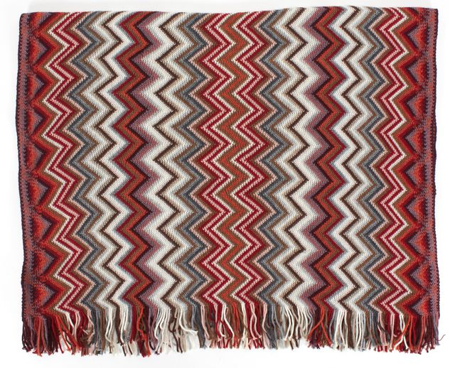 MISSONI Orange Multicolor Wool Chevron Knit Fringe Scarf