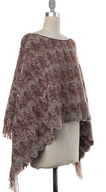 MISSONI Brown Wool Knit Scalloped Fringe Poncho Scarf