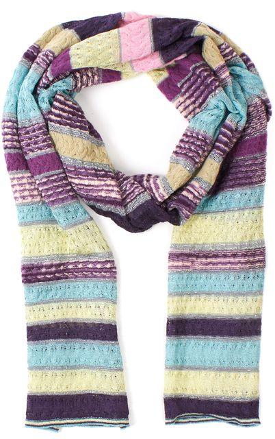 MISSONI Purple Blue Green Silver Multi Wool Striped Knit Scarf