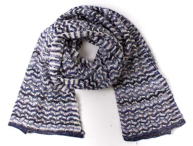 MISSONI Blue White Multicolored Knit Long Scarf