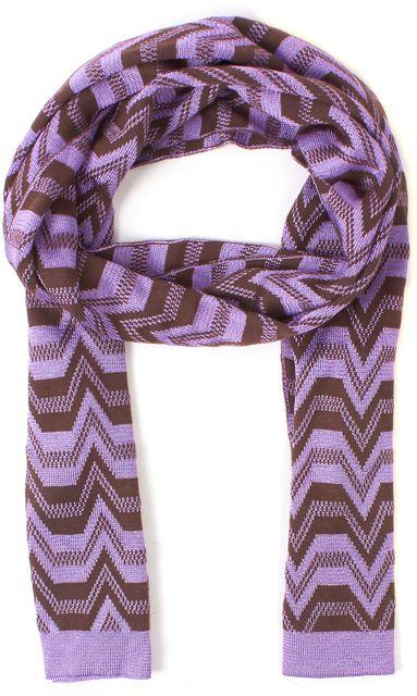 MISSONI Purple Brown Chevron Knit Long Scarf