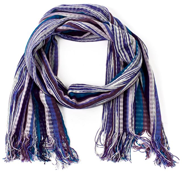 MISSONI Purple Striped Wool Knit Fringe Long Scarf