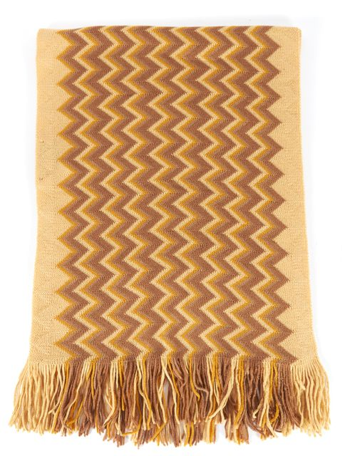 MISSONI Yellow Brown Chevron Wool Knit Fringe Trim Scarf
