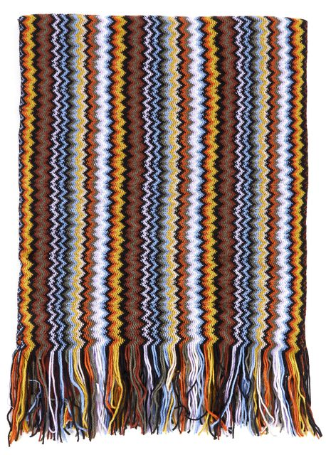 MISSONI Brown Multicolor Zig Zag Fringe Wool Blend Scarf