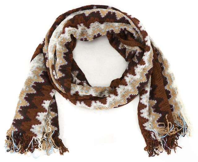MISSONI Brown Beige Red Knit Fringe Trim Scarf