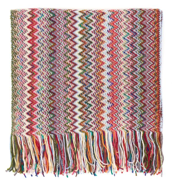 MISSONI Pink Red Blue Green Zig-Zag Wool Fringe Long Scarf