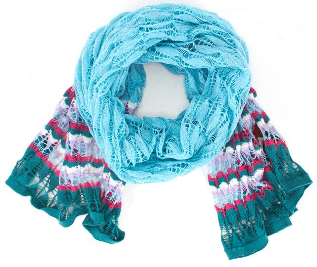 MISSONI Blue Green Pink Abstract 100% Cotton Scarf