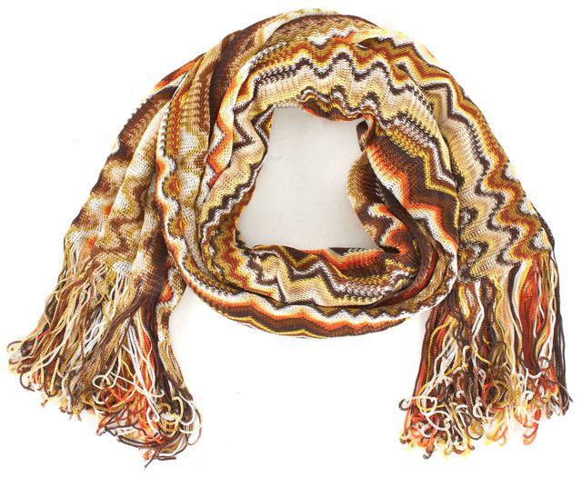 MISSONI Brown Orange White Zig-Zig Fringe Trim Knit Scarf