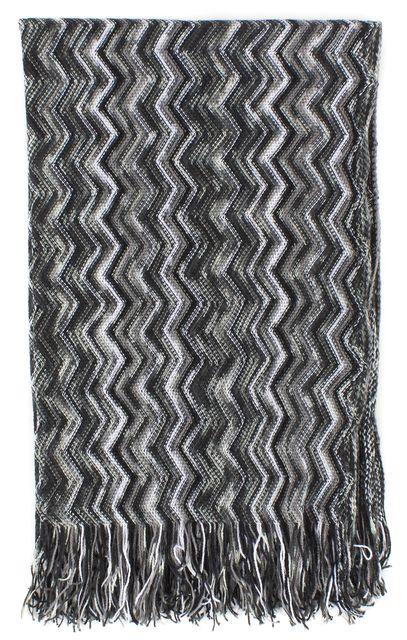 MISSONI Black White Zig Zag Striped Fringe Long Scarf