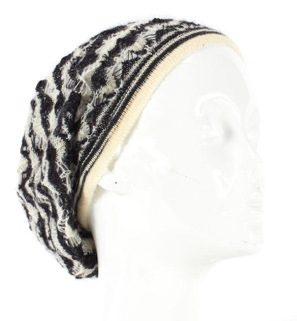 MISSONI Black White Chevron Zig Zag Striped Open Knit Beanie Hat