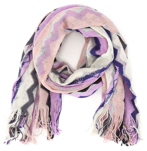 MISSONI Pink Purple Silver Striped Zig Zag Wool Knit Fringe Trim Long Scarf