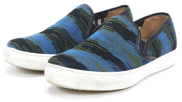 MISSONI Blue Green Black Canvas Leather Trim Slip On Sneakers