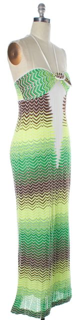 MISSONI Green White Brown Striped Knit Halter Maxi Sheath Dress