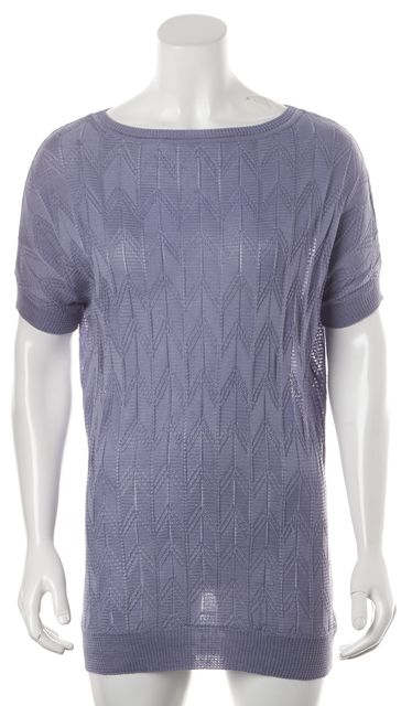 MISSONI Purple Chevron Short Sleeve Semi Sheer Knit Top