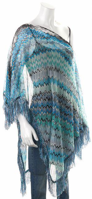 MISSONI Blue Green Black Chevron Knit Poncho Scarf Size One